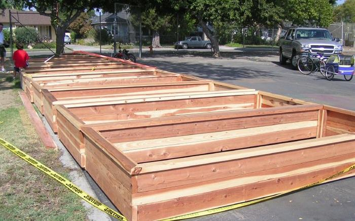 planter boxes waiting placement